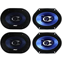 4) NEW Pyle PL683BL 6x8 720 Watt 3-Way Car Coaxial Audio Speakers Stereo - Blue