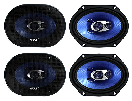 "4) Pyle PL683BL 6x8"" 720 Watt 3-Way Car Coaxial Audio Speake"