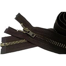 "Sale 28\"" Jacket Zipper (Custom) YKK #7 Antique Brass Separating ~ Color Brown #570 (1 Zipper / Pack)"
