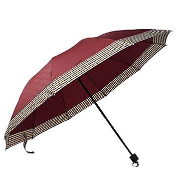 WJCXG Creativa Borde Plaid Hombres Y Mujeres Paraguas Doble Plegable Aumento Triple Paraguas Sol Y Lluvia