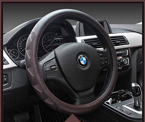 Broncos Brown Leather - Dark Brown Color High Quality Fiber Leather Luxury Style Steering Wheel Cover 15""