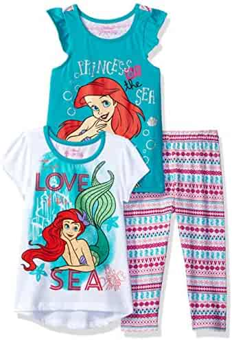 Disney Girls' 3 Piece Ariel the Little Mermaid Printed Legging Set