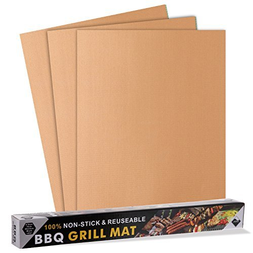 Songsun copper Grill Mat Set of 3-100% Non-stick BBQ Grill &