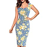 Misaky Lady Dress, Floral Pattern Business Casual Work Party Pencil Dress (XL, B_Yellow)