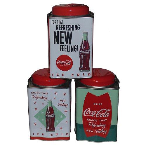 (Retro Galvanized Coca-Cola Tea Caddy Tins Set of 3)