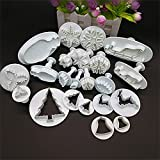 HomeyHouse 22 Pieces Fondant Cake Cookie Plunger Cutter Sugarcraft Snow Flower Christmas Tree Leaf Shape Decorating Mold DIY Tools