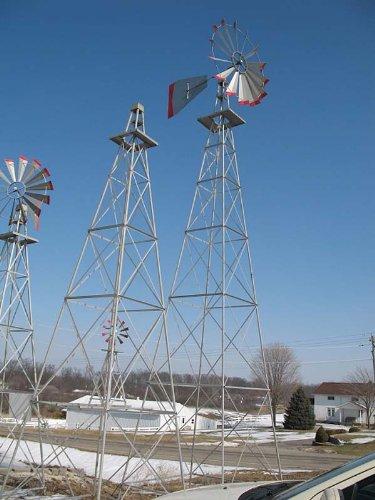 30 Ft Made in the USA Premium Aluminum Decorative Garden Windmill-red Trim