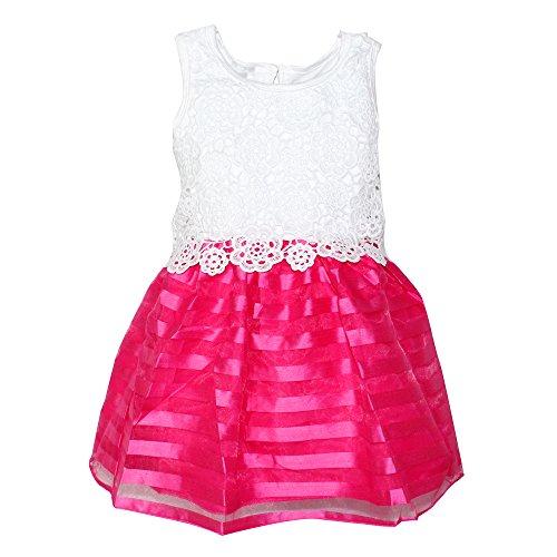WEONEDREAM 2-6T Fashion Girls Stripe Dress Rose Flower Dutton Closen Party Sundress Crochet Stitching Sleeveless Summer Clothes Sleeveless 2T (100, White Hot Pink)