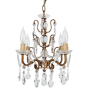 Madeleine Vintage Gold Crystal Chandelier Mini Swag Plug In Glass
