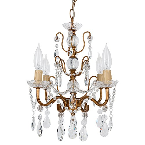 Madeleine Vintage Gold Crystal Chandelier, Mini Swag Plug-In Glass Pendant 4 Light Wrought Iron Ceiling Lighting Fixture Lamp (Vintage Crystal Gold)