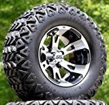 12'' RUCKUS Machined/Black Golf Cart Wheels and 23x10.5-12 DOT All Terrain Golf Cart Tires - Set of 4