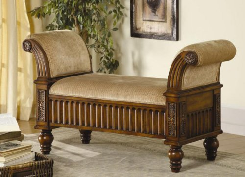 (Ornate Rolled Arm Bench Style Window Seat)