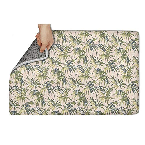 "Yiastia_Minyi Indoor Outdoor Doormat Palm Tree Leaves Absorbent Moisture PVC Backing Entrance Rug Non Slip Door Mat 31""x19"""