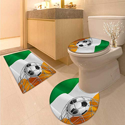Anhuthree Irish Bath Toilet mat Set Sports Theme Soccer Ball in a Net Game Goal with Ireland National Flag Victory Win 3 Piece Bathroom Contour Rugs Multicolor by Anhuthree