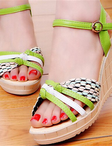 ShangYi Sandaletten für Damen Damenschuhe Kunstleder Keilabsatz Vorne offener Schuh Sandalen Kleid Blau/Grün/Beige Green