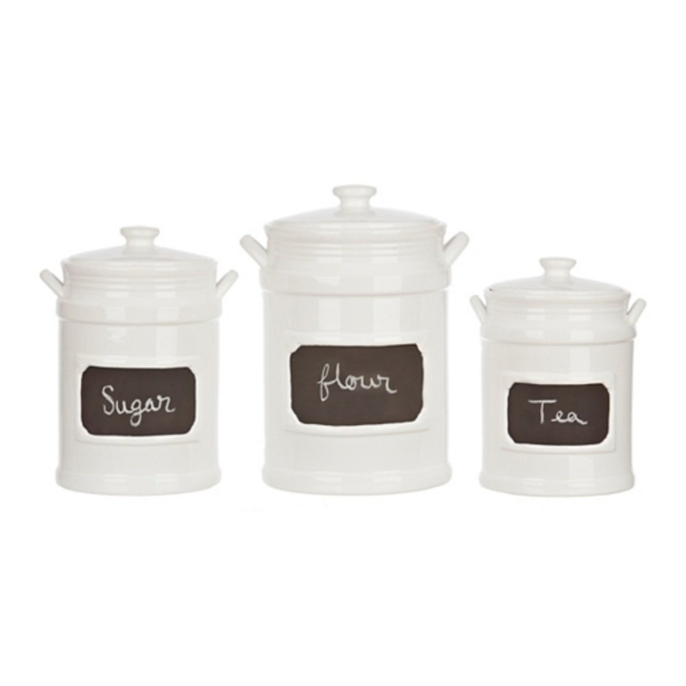 Set of 3 Quality Porcelain Airtight Canister Set - Bathroom or Kitchen  Containers, Reusable Chalkboard, White Food Storage Jars