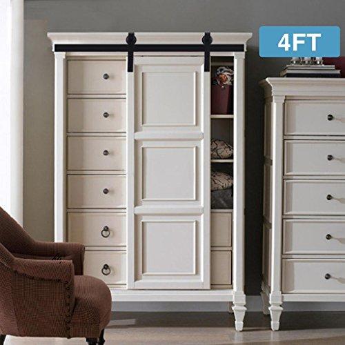 Artist Hand 4FT Mini Cabinet Barn Door Hardware Kit, Sliding Door Hardware Track Set, J Shape Hangers for Single Door, Cabinet, TV Stand, Closet,Wall Cupboard