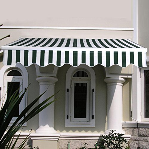 Goplus Manual Patio 6.4 5 Retractable Deck Awning Sunshade Shelter Canopy Outdoor New Stripe Green White