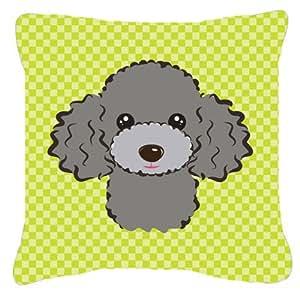 "Caroline's Treasures BB1321PW1818 Checkerboard Lime Green Silver Gray Poodle Pillow, 18"" x 18"", Multicolor"