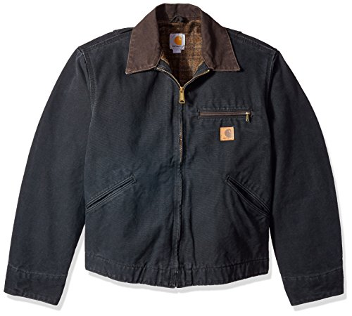 Carhartt Men's Blanket Lined Sandstone Detroit Jacket J97,Black,XX-Large