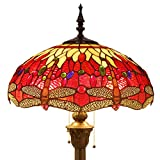 Tiffany Style Floor Standing Lamp 64 Inch Tall Red Yellow Stained Glass Shade Crystal Bead Dragonfly 2 Light Antique Base for Bedroom Living Room Reading Lighting Table Set S328 WERFACTORY