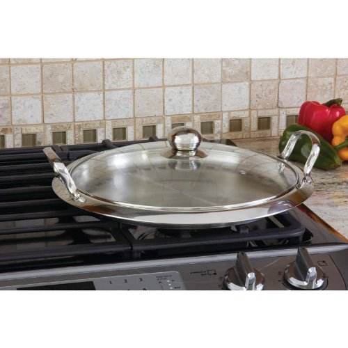 Chef's Secret® by Maxam® 12-Element High-Quality Stainless Steel Round Griddle with See-Thru Glass Cover Home Kitchen Furniture Decor