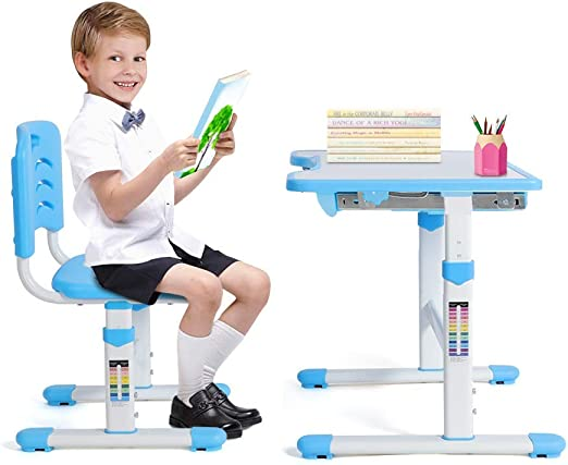 Ejoyous Mesa de Escritorio Infantil con Altura Regulable, Mesa ...