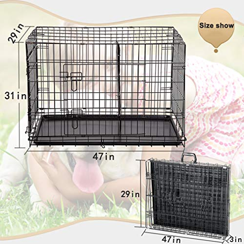Dog Crate Dog Cage Pet Crate 48 Inch Folding Metal Pet Cage Double Door W/Divider Panel Dog Kennel Leak-Proof Plastic Tray Wire Animal Cage by BestPet (Image #6)