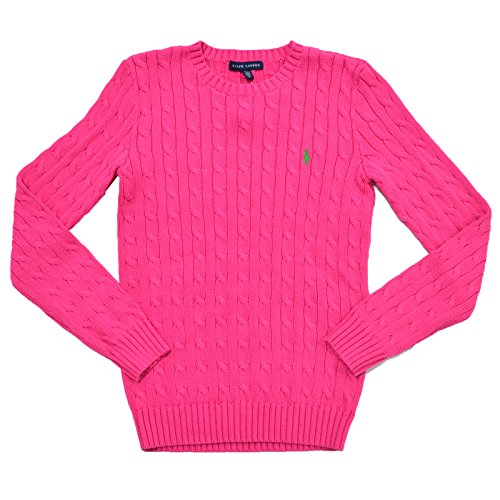 Ralph Lauren Women's Cable Knit Crew Neck Sweater (L, Grand Prix Pink)