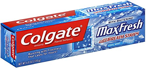 Colgate Max Fresh Toothpaste with Mini Breath Strips, 6 Ounces (Pack of 4)