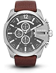 Diesel Men's Mega Chief Quartz Stainless Steel and Leather Chronograph Watch, Color: Silver-Tone, Brown (Model: DZ4290)