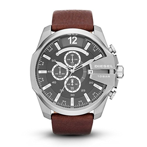 Chronograph Watch Diesel (Diesel Men's Mega Chief Quartz Stainless Steel and Leather Chronograph Watch, Color Silver-Tone, Brown (Model: DZ4290))