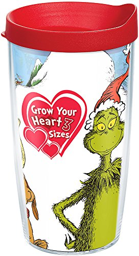 Tervis 1184681 Dr. Seuss - Grinch Grow Your Heart Tumbler with Wrap and Red Lid 16oz, Clear
