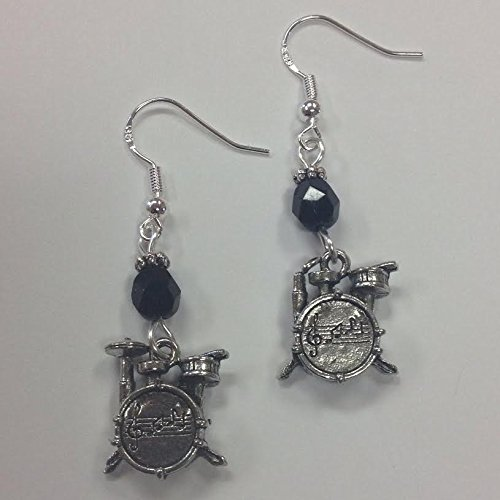 Musician, Band Member or Drum Set Earrings, Drum set Charms on Sterling Silver Earwires with jet faceted crystal accent beads