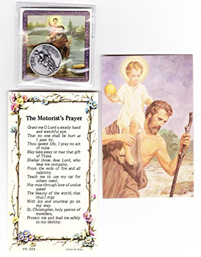 E's Guardian Angel Saint Christopher Pocket Token Coin with Three Holy Cards Including Motorist's Prayer Card