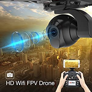 Holy Stone HS400 Large Quadcopter FPV Drone with Adjustable HD Camera 720P 2.4 GHz 6-Axis gyro, Altitude hold, One Key Return and Headless Mode Includes Bonus Battery by Holy Stone