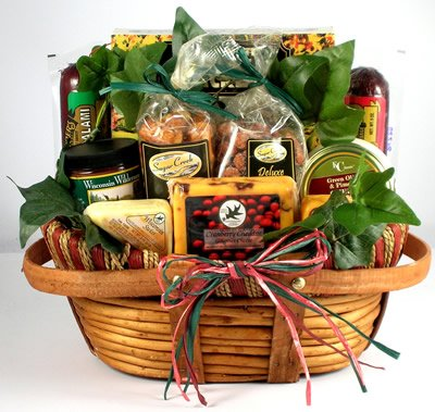 The Midwest's Best Deluxe Sausage and Cheese Gift Basket for Men | Birthday Gift Fathers Day Gift (Sausage and Cheese Variety)