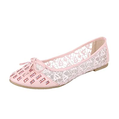 ff73ff6f2eb3 Ital-Design Ballerinas Damen-Schuhe Geschlossen Blockabsatz Luftig Leichte  Ballerinas Rosa, Gr 36