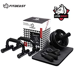 3-in-1 AB Wheel Roller Kit AB Roller with Push-Up Bar, Jump Rope and Knee Pad - Home Workout Equipment for Abdominal Core Strength Training Workout - Ab Trainer Fitness Equipment for Home Gym