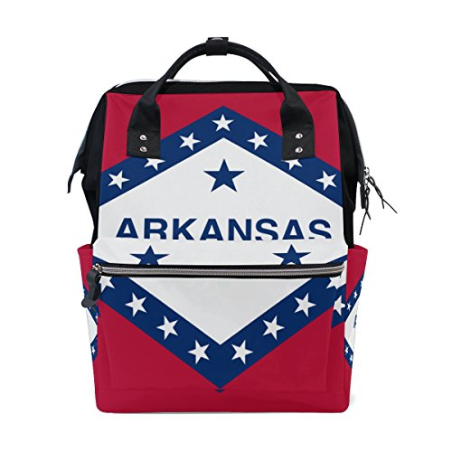 Arkansas State Flag Mommy Bag Mother bag Travel Backpack Diaper Bag Daypack Nappy Bags for Baby Care Large Capacity