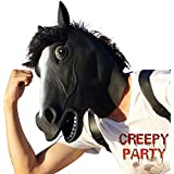 CreepyParty Deluxe Novelty Halloween Costume Party Latex Animal Black Horse Head Mask