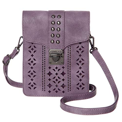 (MINICAT Women RFID Blocking Small Crossbody Bags Cell Phone Purse Wallet With Credit Card Slots(Purple-thicker))