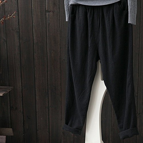 5xl Femmes M Taille Dogzi Noir Lâche D'hiver Lâches Plus De La Pantalons Lin Occasionnels Harem ~ Leggings Haute BCqqda6w