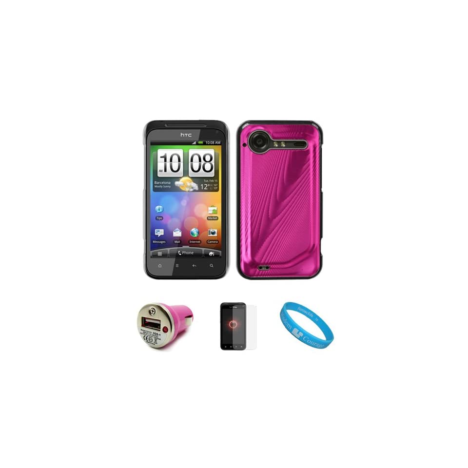 Pink Metallic Cosmo Wave Design Protective Snap On Case Cover for HTC Droid Incredible 2 (ADR6350) Verizon Wireless Android Smartphone / HTC Incredible S Mobile Phone + INCLUDES Clear Screen Protector Film Strip + Pink USB Car Charger With LED Power Indica