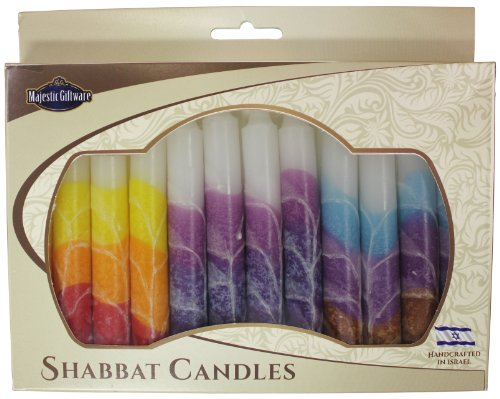 Majestic Giftware SC-SHWT-MIX Safed Shabbat Candle, 5-Inch, White Mix, 12-Pack 12 Safed Shabbat Candles