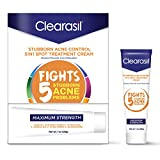 Clearasil Stubborn Acne Control 5 in 1 Treatment Cream, Maximum Strength Benzoyl Peroxide Acne Treatment, Fights Blocked Pores, Pimple Size, Excess Oil, Acne Marks & Blackheads, 1 oz. (Pack of 3)