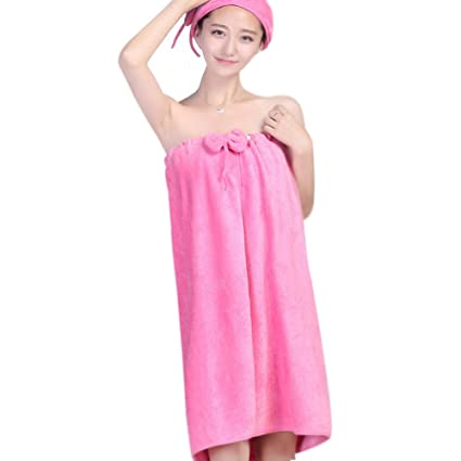 a9e92fcddc Image Unavailable. Image not available for. Color  Microfiber Bath Towel  Women Bathrobe Body Wrap Girls Spa Beach Pool Shower ...