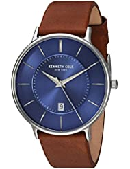 Kenneth Cole New York Mens Classic Quartz Stainless Steel and Leather Dress Watch, Color:Brown (Model: KC15097001)