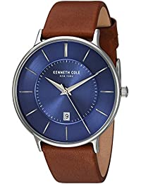 Men's 'Classic' Quartz Stainless Steel and Leather Dress Watch, Color:Brown (Model: KC15097001)
