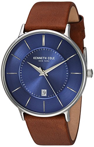 Kenneth Cole New York Men's 'Classic' Quartz Stainless Steel and Leather Dress Watch, Color:Brown (Model: KC15097001)